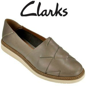 Clarks Glick Sage Sz 11 Leather Woven Loafers